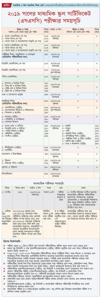 ssc exam routine-2019 Bangladesh