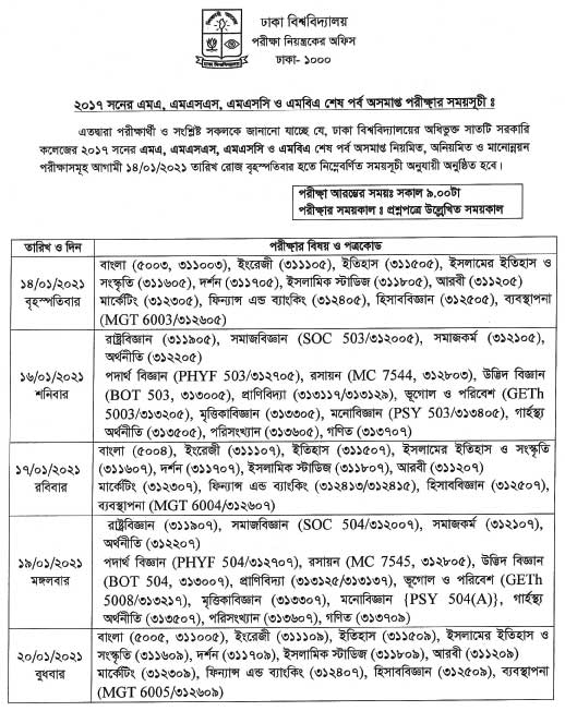 DU 7 Colleges Masters final exam routine-2017-p1