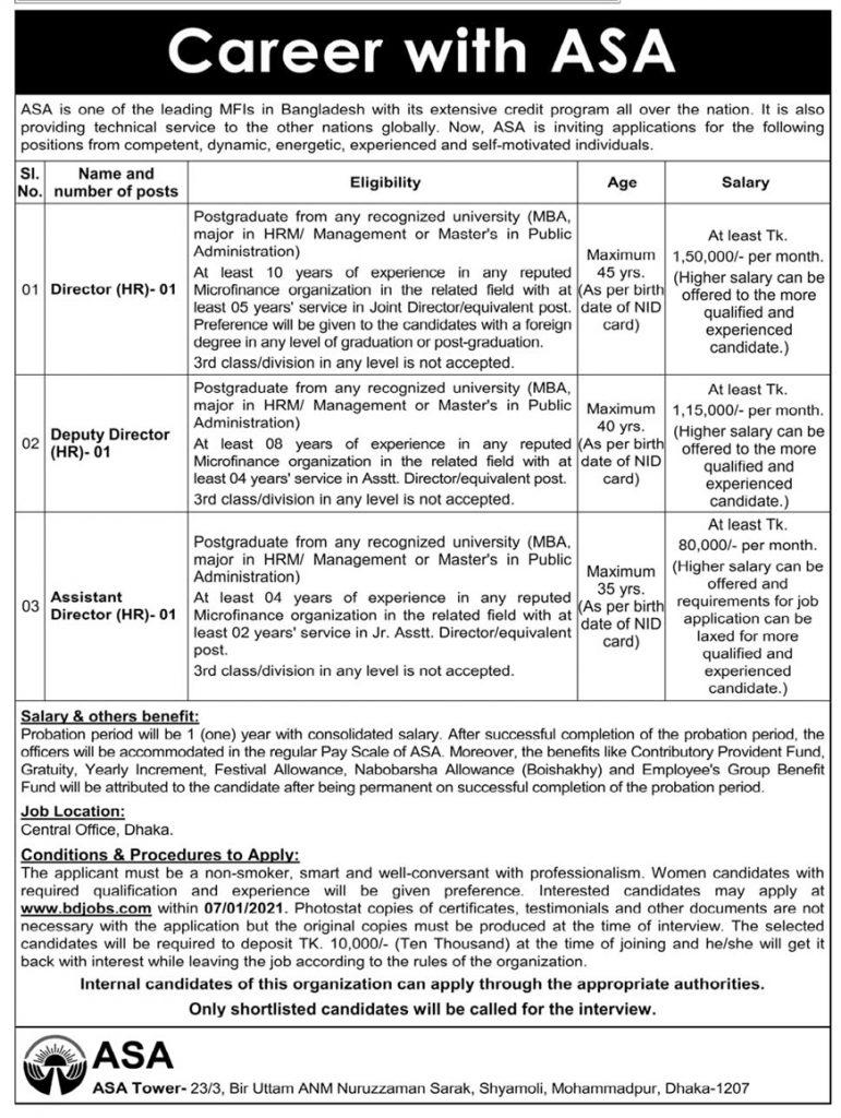 ASA NGO Job Circular 2021 - asa.org.bd