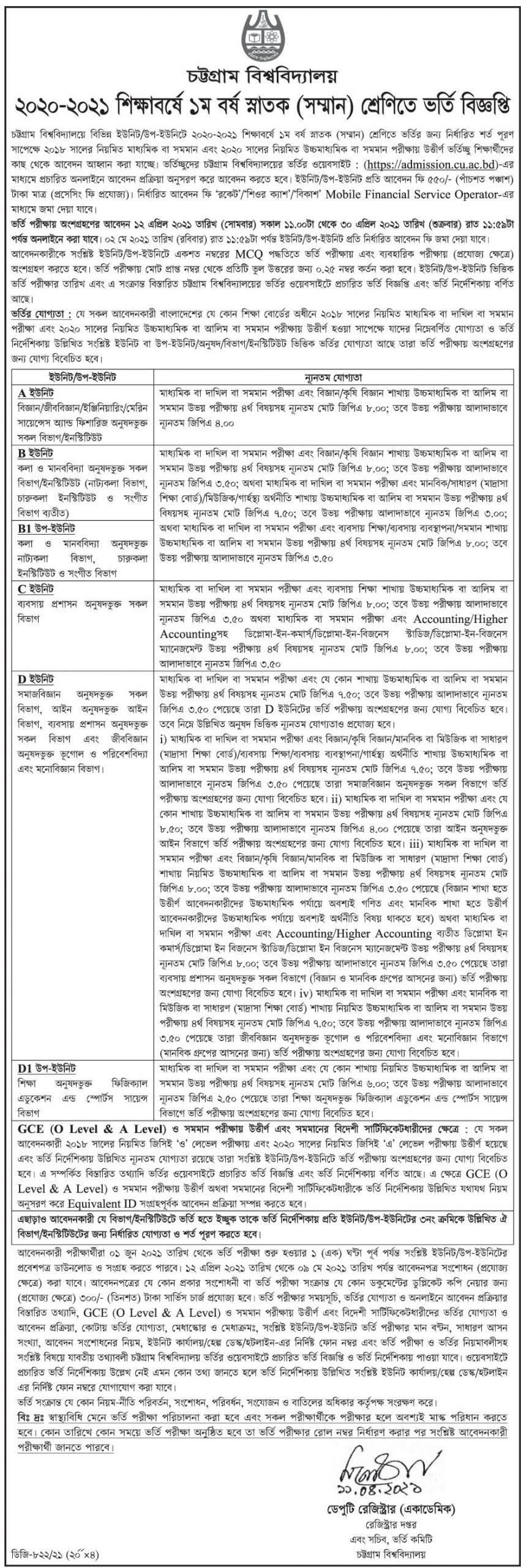 চট্টগ্রাম বিশ্ববিদ্যালয় (চবি) ভর্তি বিজ্ঞপ্তি ২০২০-২০২১ - Chittagong University Admission Circular 2020-2021