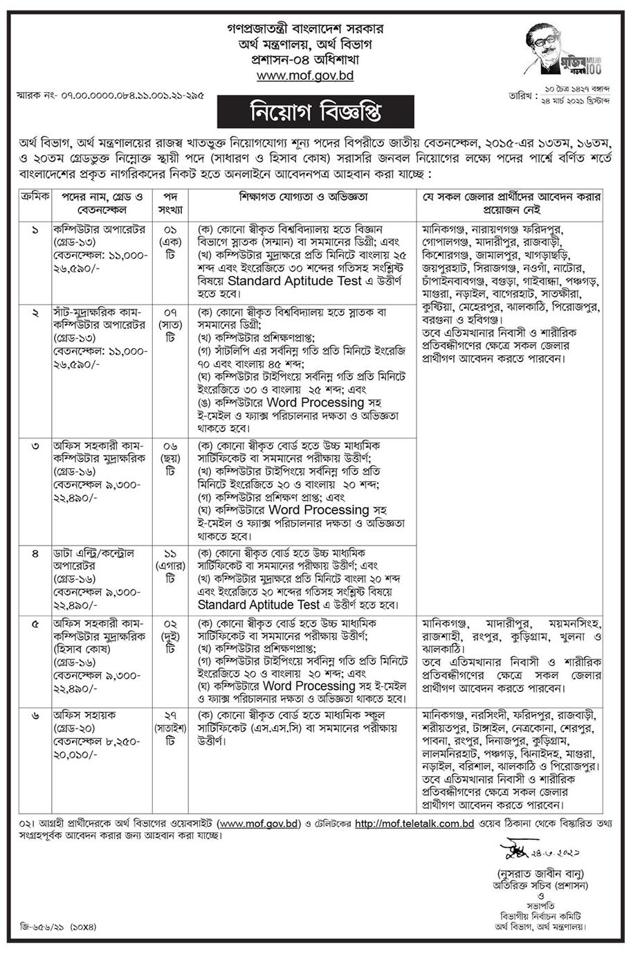 অর্থ মন্ত্রণালয় নিয়োগ বিজ্ঞপ্তি ২০২১ - Ministry of finance job circular 2021