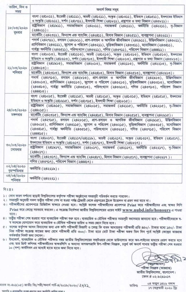 অনার্স ৪র্থ বর্ষ পরীক্ষার রুটিন-২০১৯ - Honours 4th year routine 2019