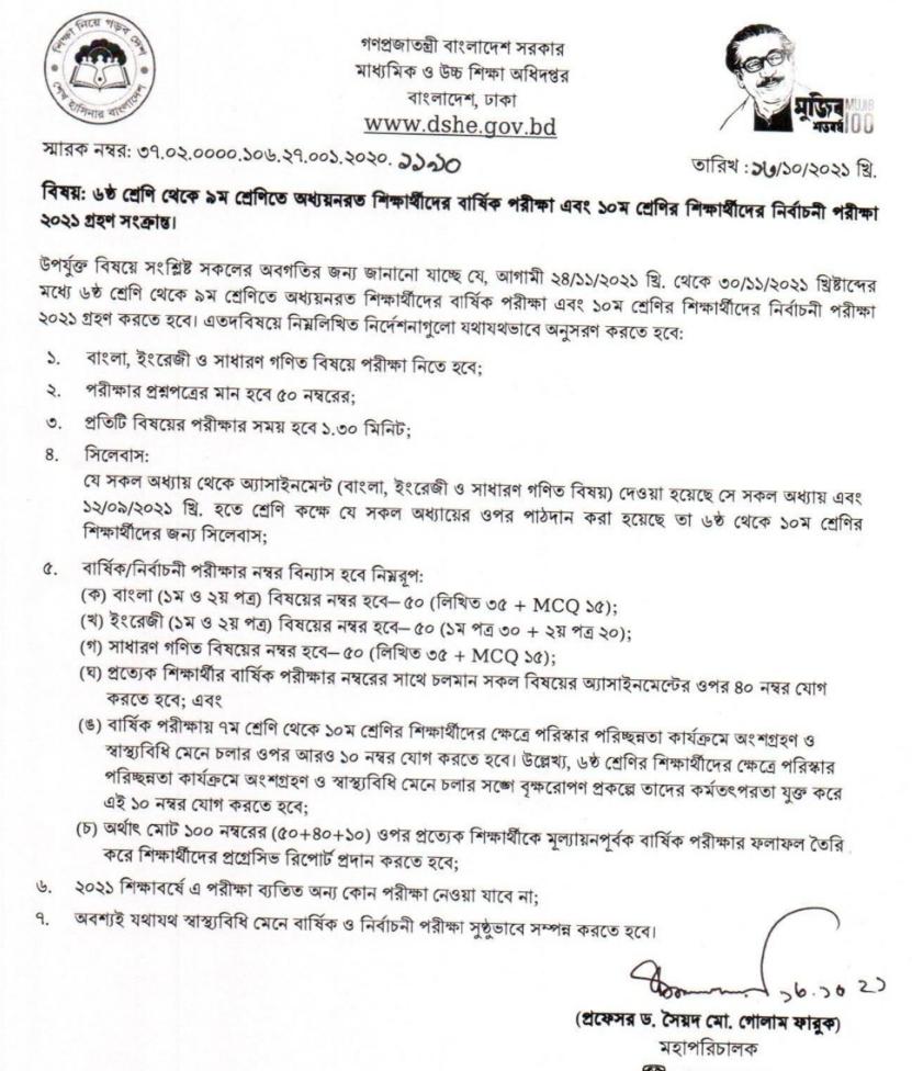 School final exam notice 2021