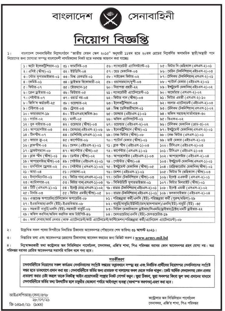 Bangladesh Army civil job circular 2021 - July