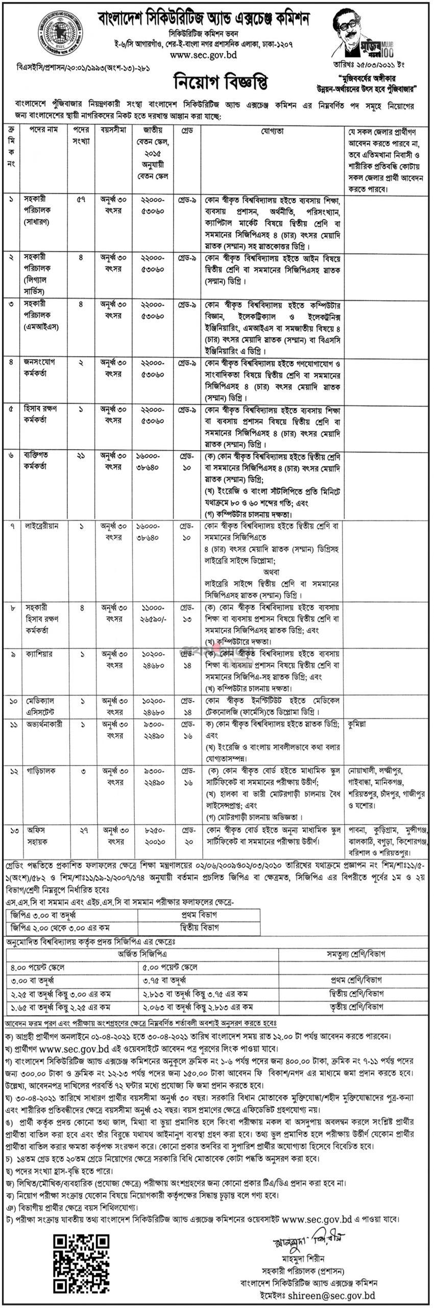 বাংলাদেশ সিকিউরিটিজ অ্যান্ড এক্সচেঞ্জ কমিশন নিয়োগ বিজ্ঞপ্তি ২০২১ - Bangladesh Security and exchange commission (SEC) job circular 2021