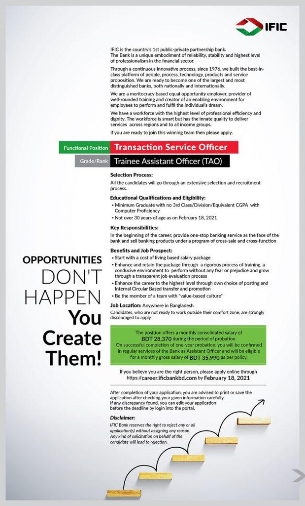 IFIC Bank Job Circular 2021 - আইএফআইসি ব্যাংকে ট্রানজেকশন সার্ভিস অফিসার পদে চাকরি