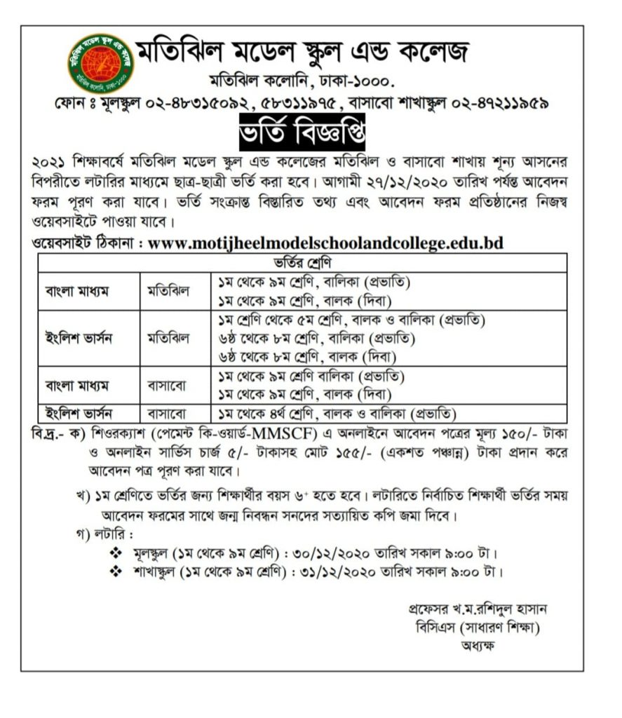 Motijeel model school admission circular 2021