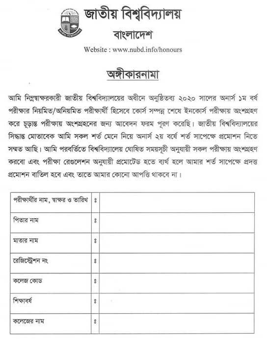 National University promotion commitment form 2021 - auto pass form
