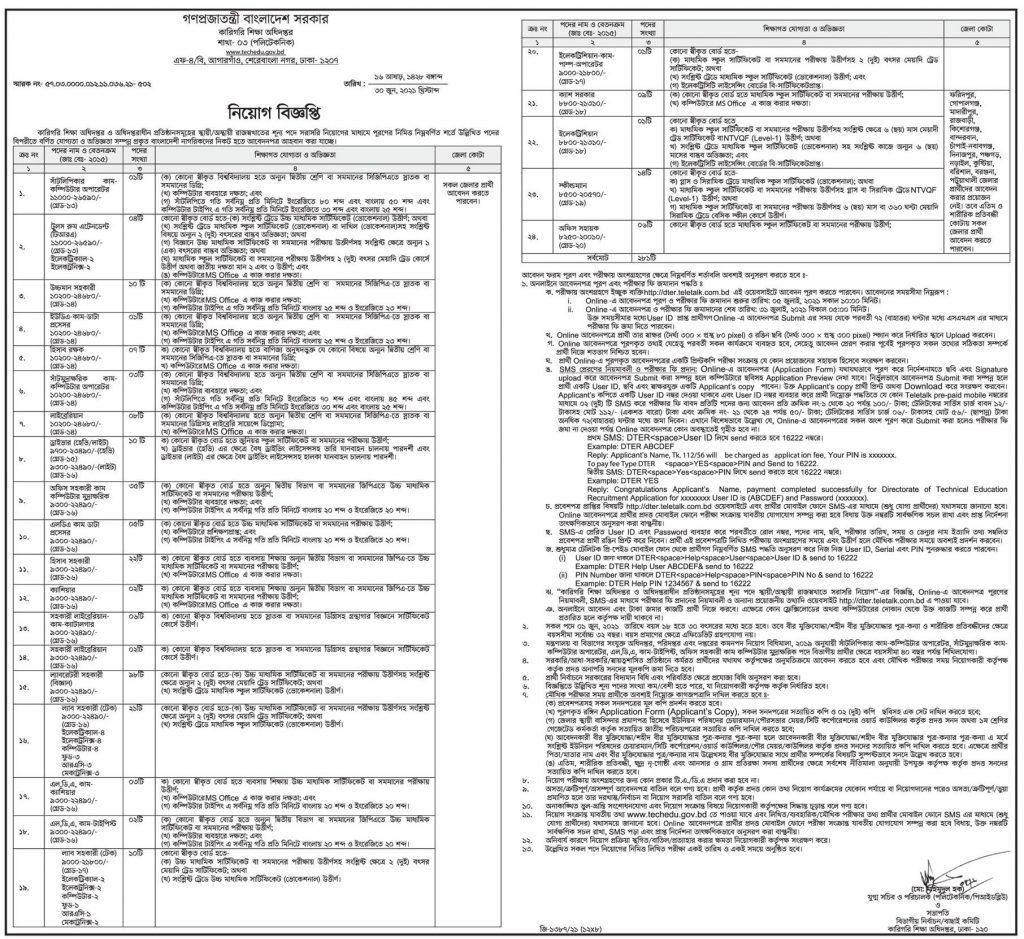 Directorate of Technical Education (DTE) Job Circular 2021 (July) - 281 Posts - কারিগরি শিক্ষা অধিদপ্তর নিয়োগ বিজ্ঞপ্তি ২০২১ - ২৮১টি পদ